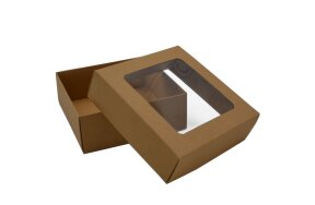 KRAFT PAPER BOX WITH WINDOW 13x13x5cm SET/20